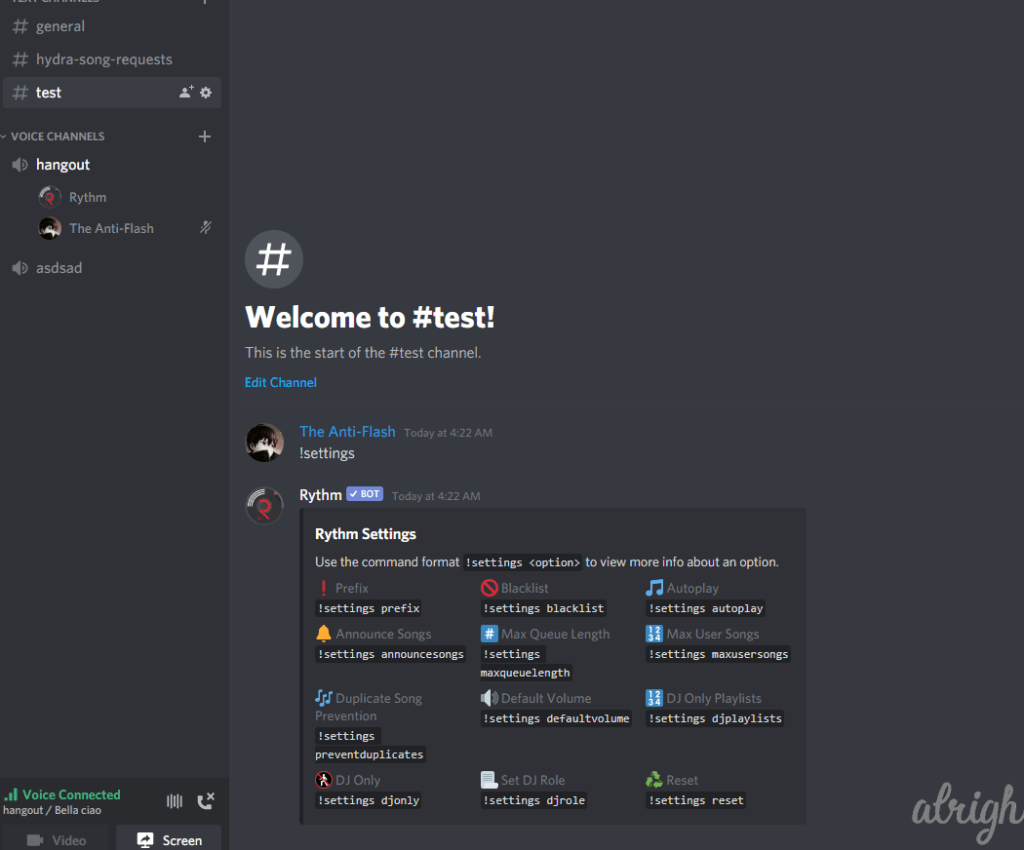 !settings Command for Rythm Bot