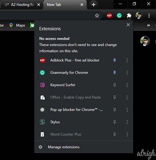 Chrome Extensions Toolbar Menu Flag