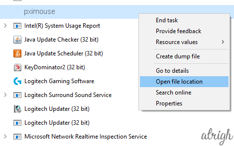 Open FIle Location of PXIMouse from Task Manager