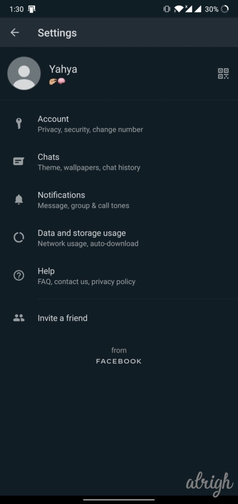 WhatsApp Android Settings From Facebook