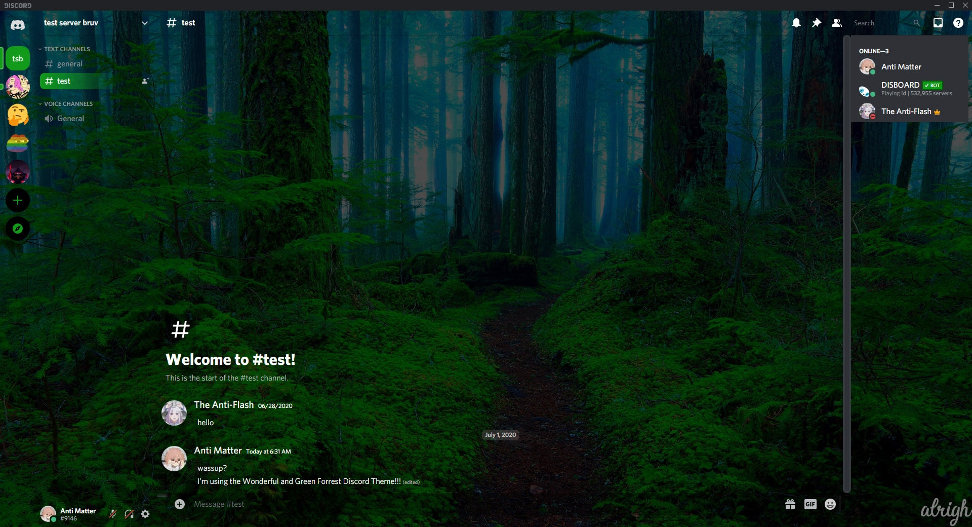 Wonderful and Green Forrest Discord Theme