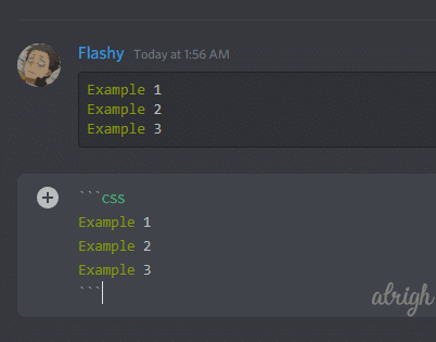 Coloring text green with css syntax on Discord