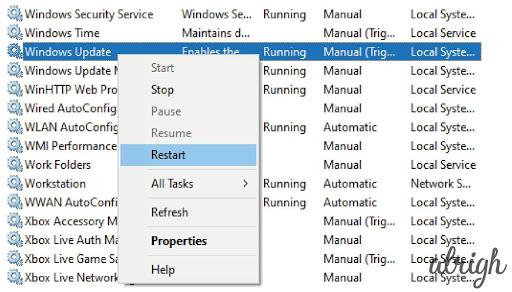 Restart Windows Update to fix TiWorker.Exe using 100% CPU Usage