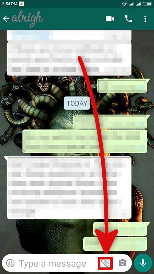 Clicking on the paper clip icon in whatsapp chat to access documents