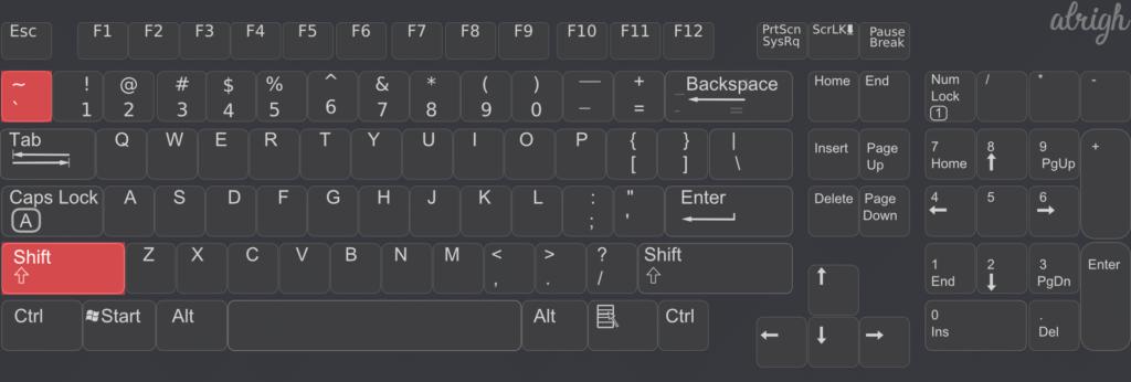 English standard Keyboard Tilde position