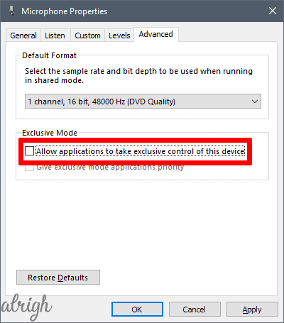 Disable Exclusive Microphone Control in Windows Settings 4