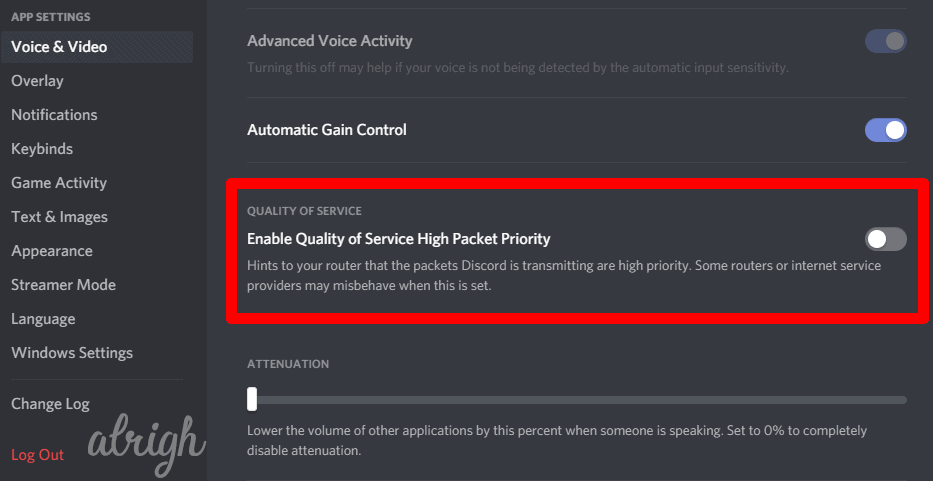 Disable Quality of Service High Packet Priority in Discord 2