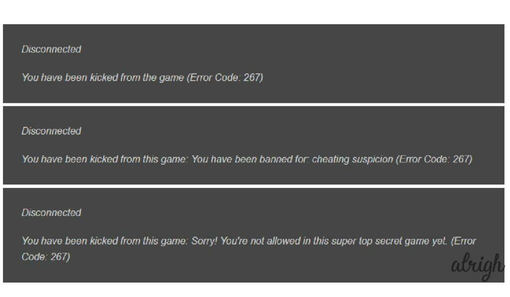 Roblox Error Code 267 Error Messages