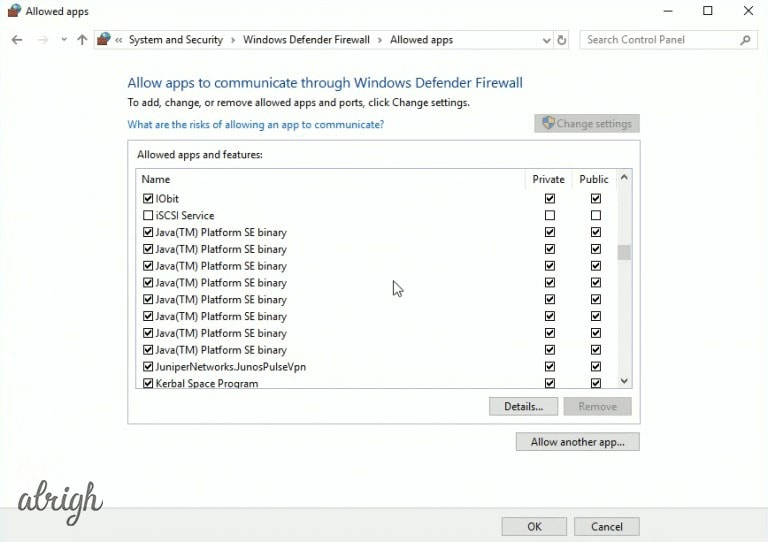 Allow apps section in windows defender firewall