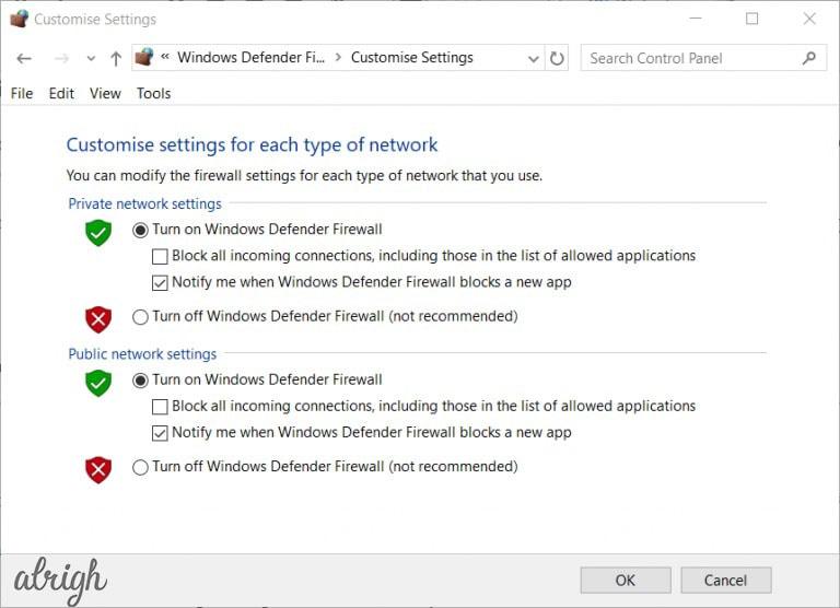 Option to disable windows firewall