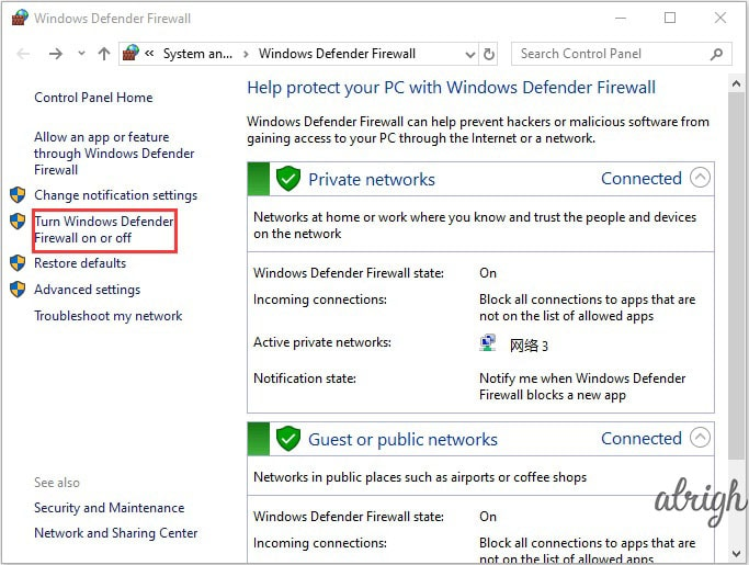 Subsections of windows defender firewall
