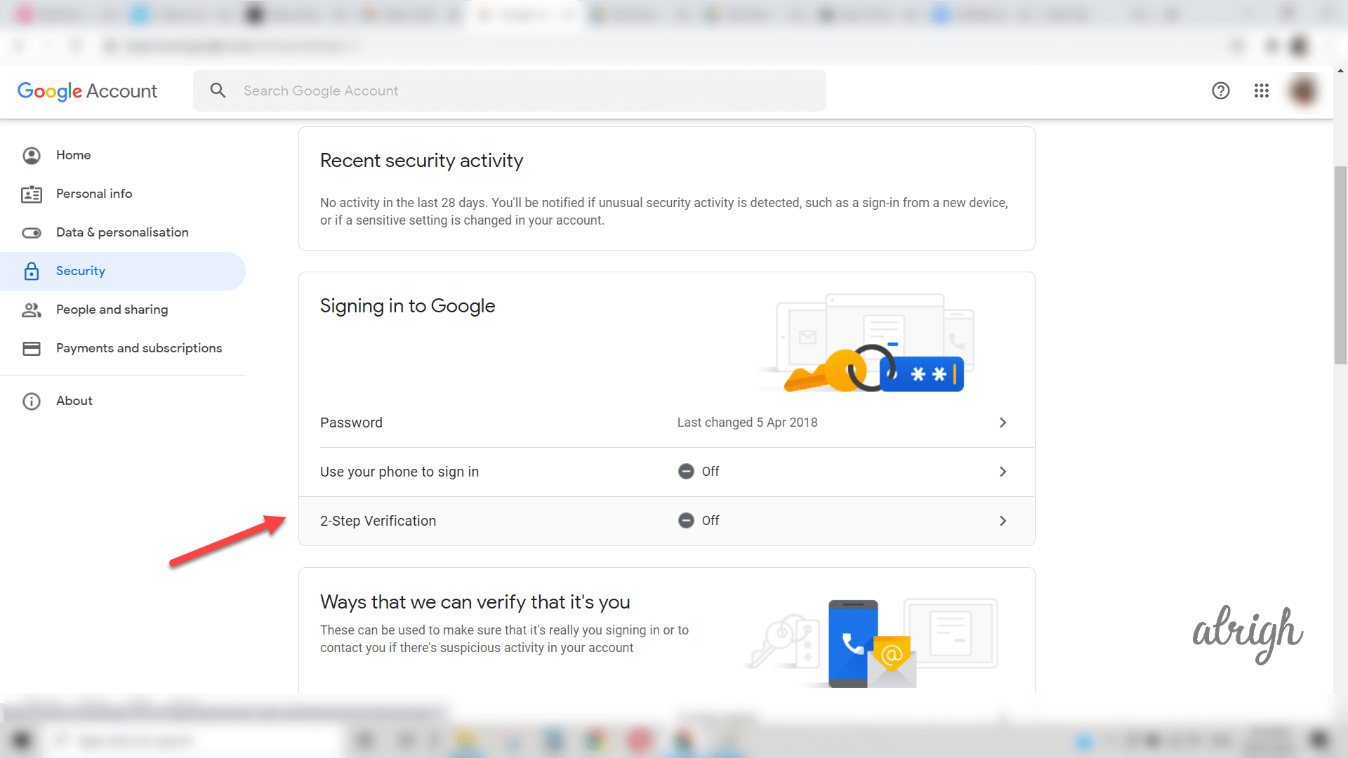Click on 2 step verification method
