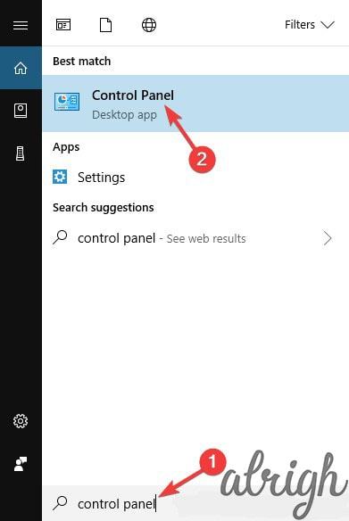 Search results for control panel in windows