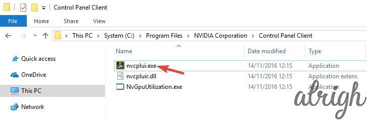 exe program file location of Nvidia Control Panel