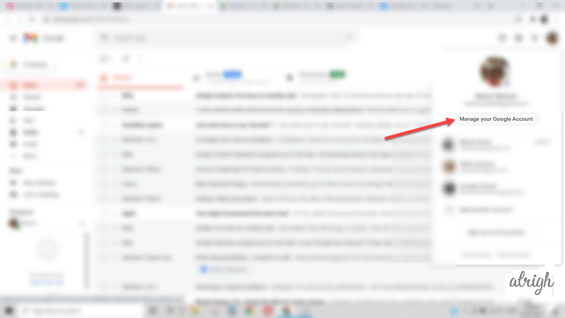 On gmail click on manage your google account option