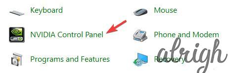 Option to choose Nvidia control panel