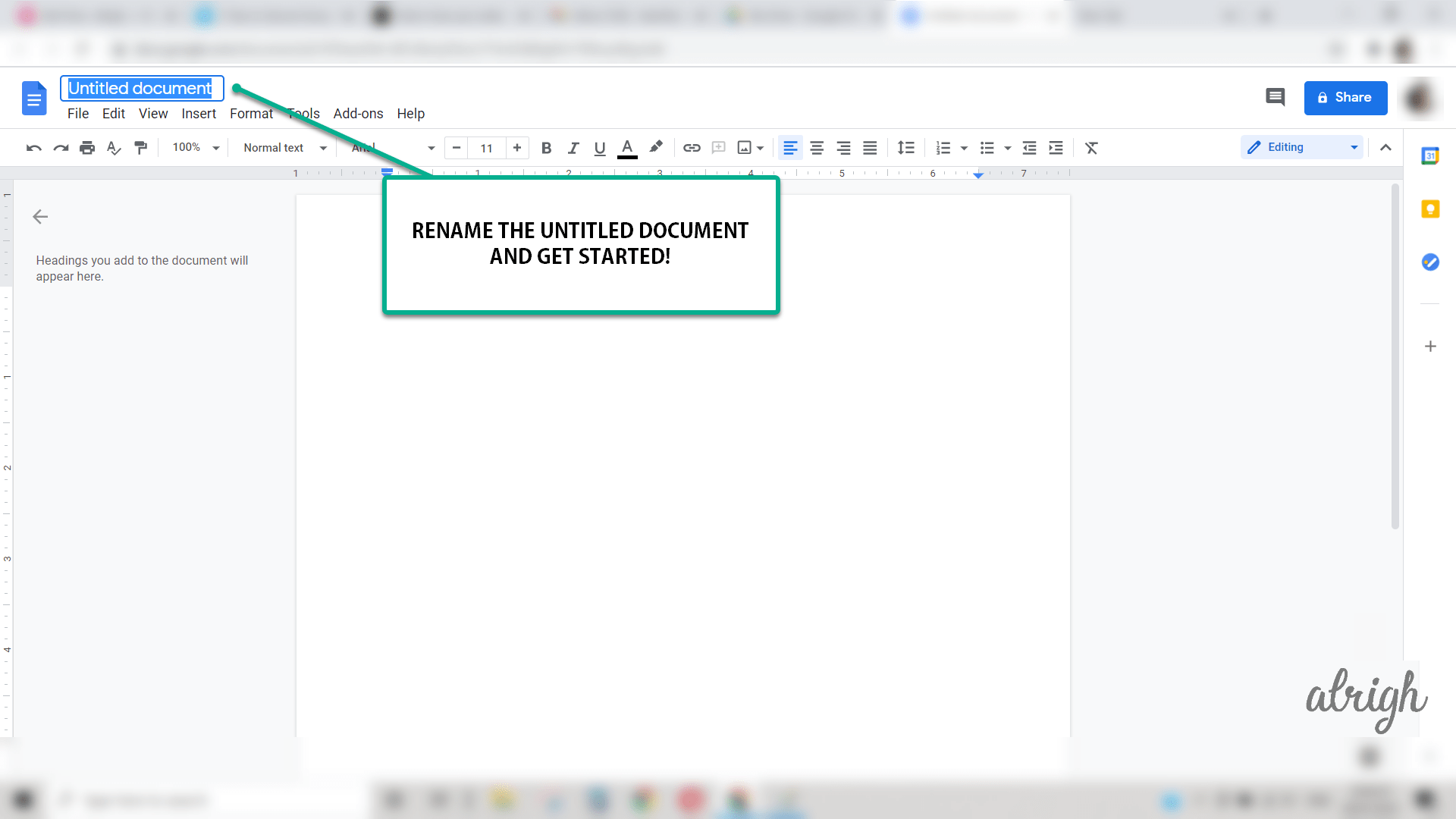 Changing name for yur newly created document