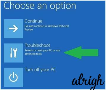 Troubleshoot option in windows