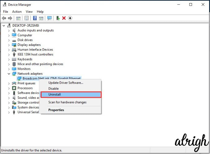 Device manager to uninstall driver