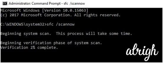 sfc /scannow on command prompt