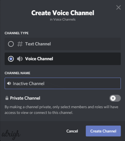 Name the voice channel