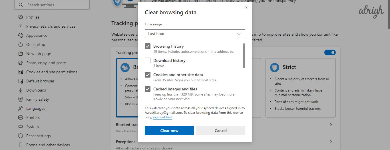 Press Shift+Ctrl+Delete to clear Cache data