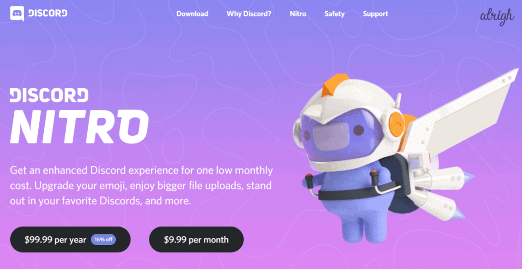 Buy Discord Nitro subscription at $9.99 per month