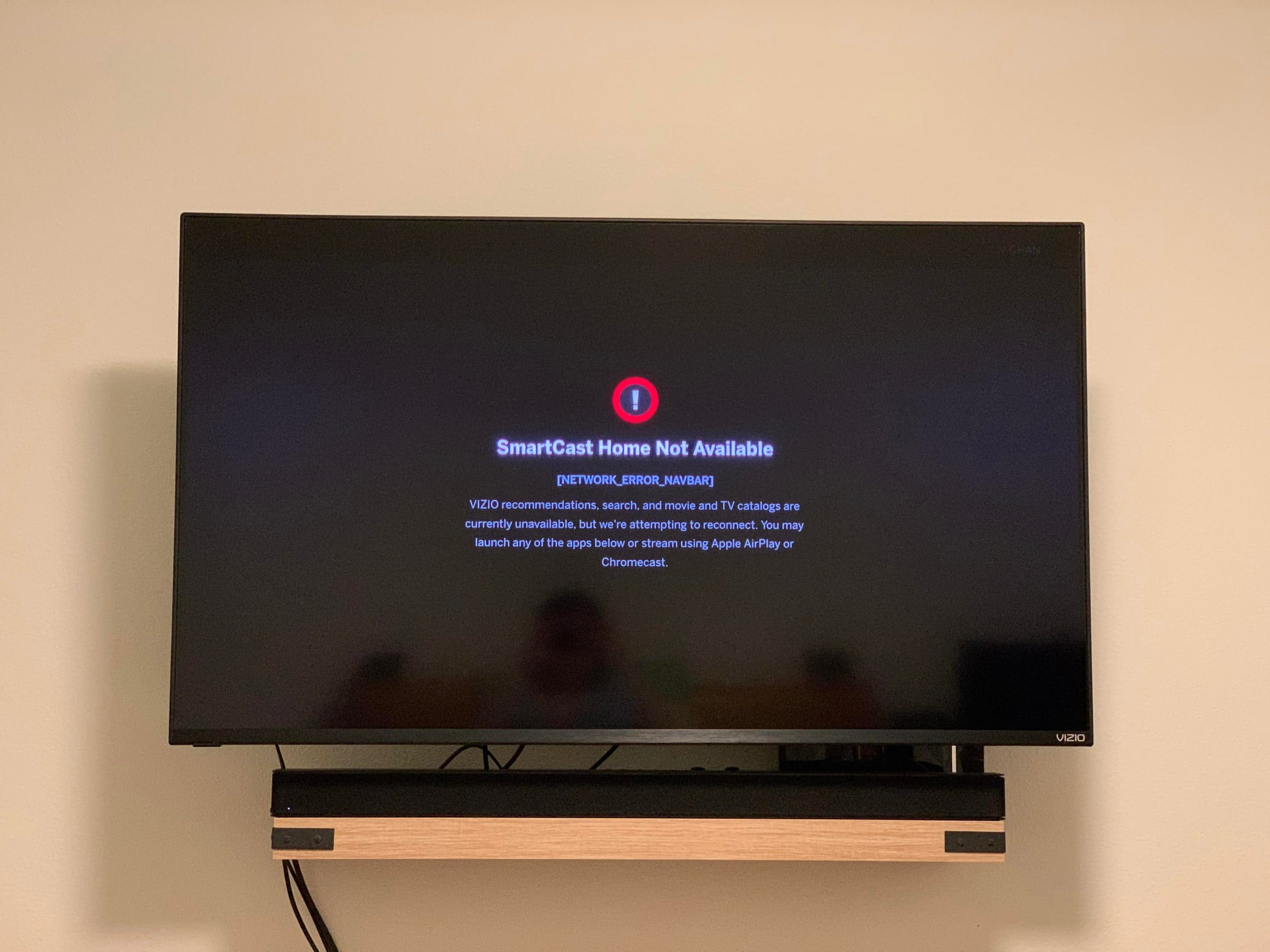 Vizio SmartCast TV Not Available error